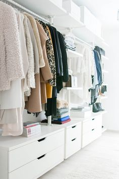 walk in closet- dressing room - IKEA - Stolmen - Ankleidezimmer - - YSL - Saint Laurent - Monogram Université - Zara - Louis Vuitton Source by room design