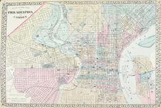 Philadelphia Pennsylvania Antique Mitchell Map 1881