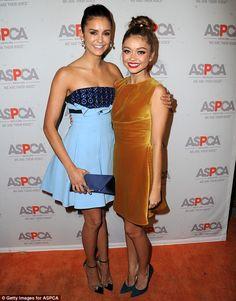 Fellow TV stars: The Modern Family star (right) posed alongside Nina Dobrev of The Vampire Diaries fame