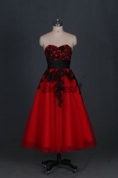 IN A DIFFERENT COLOR OF COURSE Tea length red tulle prom dress with black lace,stunning women gowns for wedding party,cheap homecoming dresses hot.