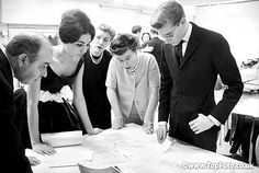 YSL designing Farah Diba's wedding dress for her marriage to Shah of Iran, November 1959.