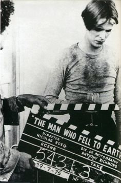 David Bowie on the set of'The Man Who Fell To Earth', 1976.