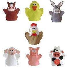 FANTOCHE ANIMAIS DA FAZENDA - Abracadabra Fantoches    ITENS: 7 FANTOCHES ( pato, porco, galinha, burro, vaca, cavalo e ovelha).  DESCRIÇÃO: Fantoches com o tema fazenda.    MATERIAL: Feltro e linha.  DIMENSÕES: 24 x 29 cm, em média cada.  EMBALAGEM: Saco de celofane transparente fechado com adesivo.  DETALHES: 100% de costura à máquina. Pode haver variação de tons e cores.    PRAZO DE ENVIO: Sob consulta. R$ 71,00