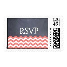 Coral Chevron RSVP Wedding Stamps