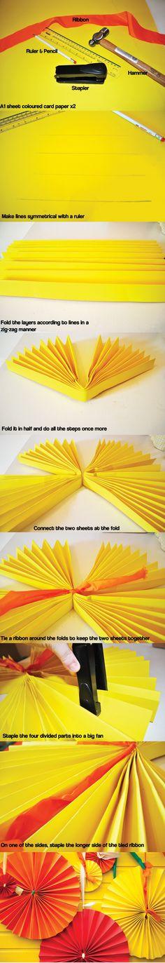 DIY Paper fan decorations!