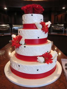 Red & White Cake... Do you see mickey on the cake? :)
