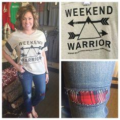 Weekend warrior tee, $46.95 Plaid detail boyfriend jeans, $39.95