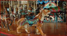Richland Carrousel Park, Mansfield, Ohio, USA. When it opened in 1991, a new handcrafted wooden carousel had not been built in America for almost 60 years. It was built and installed by The Carousel Works in Ohio, USA.