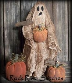 Primitive Halloween Ghost Make Do Doll with Crows, Pumpkins
