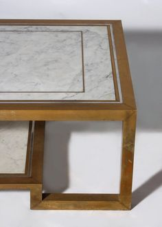 Bronze and marble coffee table with two shelves, c. 1970 2