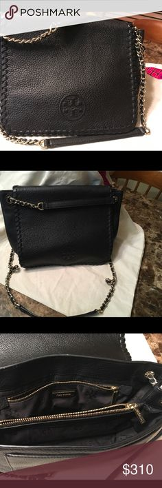 Authentic TORY BURCH BLACK BAG Black with 2 strap chain handle  Barely used Tory Burch Bags Shoulder Bags