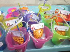 Little Mermaid Party Ideas-- Like the fruit pails and the favors