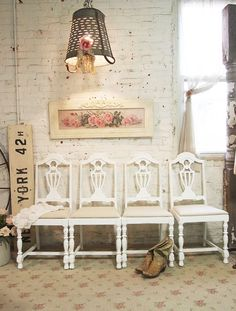 Painted Cottage Chic Shabby White Chairs CHR07 by paintedcottages, $110.00