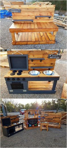 This mud kitchen design has been dramatic designed with brilliance in which the ideal use of the wood pallet is its best part. Nevertheless, the kitchen is divided into different portions of divisions where the access of the sink and shelves visibility is Diy Mud Kitchen, Mud Kitchen For Kids, Kitchen Wood, Awesome Kitchen, Pallet Kids, Diy Pallet Projects, Woodworking Projects, Wooden Pallets, Pallet Wood
