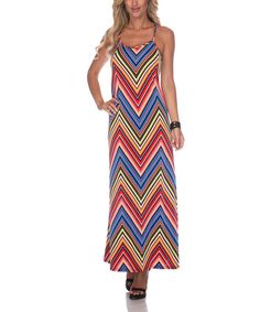 Take a look at the White Mark Red Zigzag Maxi Dress on #zulily today!