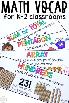 These math vocabulary cards are perfect for your math word wall. These bright, fun cards will enhance student learning of key math vocabulary terms. There are designed for kindergarten, 1st grade, and 2nd grade classrooms. They are great to add to anchor charts, print for student interactive notebooks, or keep in a math journal. There are cards for geometry, measurement, addition, subtraction, place value, and more! Plus, these math posters won't take up too much space on your wall!
