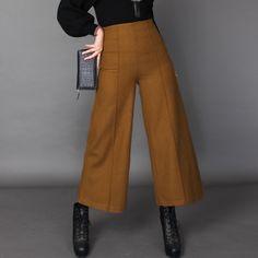 Laine laine pantalons à jambes larges femme automne et d'hiver épaississement lâche significative longilignes taille droite casual pantalons collants dans Pantalons et Capris de Femmes de Vêtements et Accessoires sur AliExpress.com | Alibaba Group