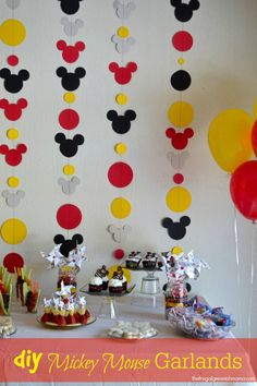 Click here to learn how to make a Mickey Mouse themed garland! Add bows to make it a Minnie Mouse themed garland!