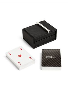 Ralph Lauren - Sutton Carbon Fiber Embossed Leather Playing Card Set