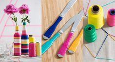 Des vases customisés avec du fil, Décorez votre table de salon avec ces vasescolorés pour créer une déco de table flashy et graphique. Et en bonus, les couverts customisés pour harmoniser l'ensemble.