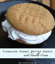 Flourless Peanut Butter Cookies with Vanilla Cream (grain, gluten, and dairy free)...Mmmmmmmm.....