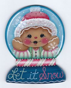 Let it Snow Snow Globe Gingerbread Painting por GingerbreadCuties