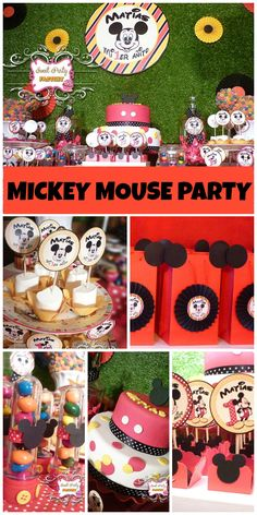 A red, black and white Mickey Mouse party celebrating a first birthday!  See more party planning ideas at CatchMyParty.com!