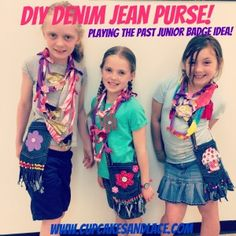 Playing the Past Junior Badge Girl Scout Craft Idea: Recycled Denim Jean Purses Eco Friendly Craft - Cupcakes & Lace Girl Scout Swap, Girl Scout Leader, Girl Scout Troop, Denim Jean Purses, Blue Jean Purses, Junior Girl Scout Badges, Girl Scout Juniors, Brownie Girl Scouts, Girl Scout Cookies