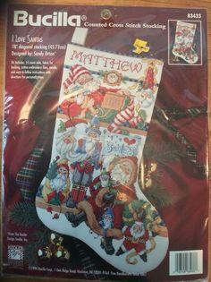 Bucilla Counted Cross Stitch Christmas Stocking I Love Santas 83433 #Bucilla