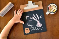 craft for kids - turn an old clipboard into a chalkboard drawing tablet