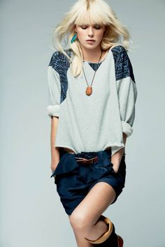 love this look. sweater with detailing and jean shorts