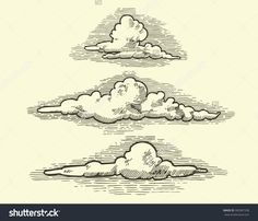 Find Vintage Engraved Clouds Vector Illustration stock images in HD and millions of other royalty-free stock photos, illustrations and vectors in the Shutterstock collection. Doodle Drawings, Easy Drawings, Drawing Sketches, Cloud Drawing, Painting & Drawing, Cloud Illustration, Engraving Illustration, Illustrations Vintage, Cartoon Clouds