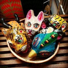 Handpainted animal masks by Hay