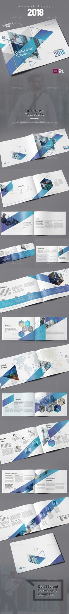 Annual Report 2018 Landscape Brochure Template InDesign INDD