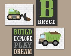 CONSTRUCTION Wall Art CANVAS or Prints Trucks by TRMdesign on Etsy