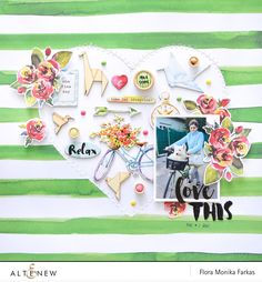 Scrapbook layout made with @Altenew Reflection Kit for Altenew Sketch #2 Challenge by @floramfarkas .