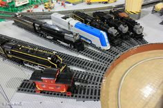 "LEGO steam locomotives ""scratch-built"" by members of PennLUG."