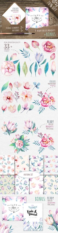 Watercolour floral DIY+Bonus on Behance