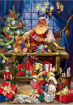 Santa's Workshop - 1000 Piece Puzzle by Ceaco Old Time Christmas, Christmas Scenes, Old Fashioned Christmas, Noel Christmas, Father Christmas, Vintage Christmas Cards, Christmas Pictures, Winter Christmas, Christmas Toys