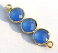 Blue Chalcedony 3Pcs Faceted Coin Bezel by RareGemsNJewels on Etsy
