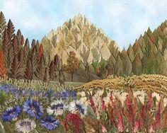 Landscape Archival High Quality Art print Mountains 8''x10'' Pressed Flower Art Mixed Media Oshibana Nature Art Flower Field Botanical Art