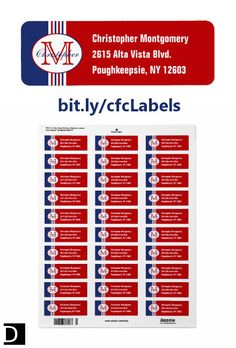These colorful return address labels feature red, white, and blue stripes topped on the left with an oval containing a customizable name and initial. On the right are three lines of text that can be customized with your personal information. https://www.zazzle.com/monogrammed_red_white_and_blue_striped_label-106326559742873123?rf=238083504576446517&tc=20170710_pint_NI #StudioDalio monogram stationery