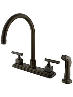 Delray Double-Handle Kitchen Faucet with Cylindrical Levers and Side Sprayer | House of Antique Hardware