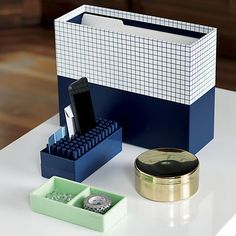 Poppin ® navy organizers and mint this way tray | CB2