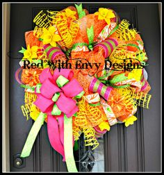 Summer Wreath Wreath Deco Mesh Wreath Deco by RedWithEnvyDesigns, $135.00
