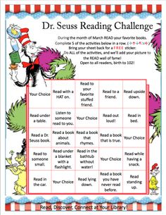 Dr-Seuss-Reading-Challenge « Elmendaro Township Library Best Picture For Dr Seuss Crafts fox in sock Dr. Seuss, Dr Seuss Week, Dr Seuss Activities, Library Activities, Reading Activities, Teaching Reading, Kindergarten Writing, Reading Strategies, Daily 5