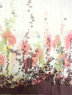 This fabric titled Hide and Seek designed by Japanese textile designer Kayo Horaguchi.  Leopards and giraffes are hidden behind the plants!