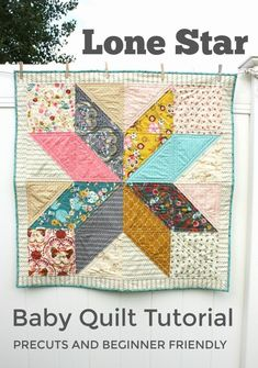 DIY Modern Star Baby Quilt Tutorial Make this simple, classic star quilt with a fun, fast and free tutorial from Diary of a Quilter!Make this simple, classic star quilt with a fun, fast and free tutorial from Diary of a Quilter! Baby Quilt Tutorials, Beginner Quilt Patterns, Quilting Tutorials, Quilting Projects, Sewing Projects, Quilting Tips, Beginner Quilting, Diy Projects, Sewing Ideas