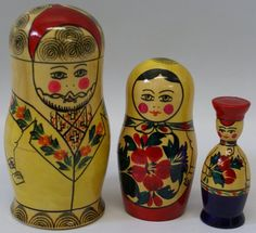 """Vintage Russian Nesting Dolls Set """"Good Family Man"""" This shop is missing a doll and still is asking $40. Ha ha ha...."""