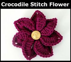 Crochet flowers are always fun to work up because they are quick to crochet and don't require much yarn. This Crocodile Stitch Crochet Flower is no different. Just a little bit of yarn is needed (in any weight) for this flower crochet pattern. Appliques Au Crochet, Crochet Motifs, Knit Or Crochet, Crochet Patterns, Spiral Crochet, Crocheted Hats, Crochet Hair, Irish Crochet, Crochet Stitches